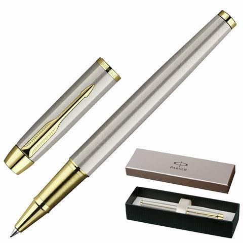 Ручка-роллер PARKER «IM Brushed Metal GT», корпус «шампань», латунь, позолоченные детали, S0856400, черная