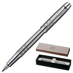 Ручка перьевая PARKER «IM Premium Chiselled CT», корпус сияющий хром, латунь, хромированные детали, черная, S0908640