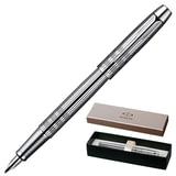 Ручка перьевая PARKER «IM Premium Chiselled CT», корпус «сияющий хром», латунь, хромированные детали, S0908640, черная
