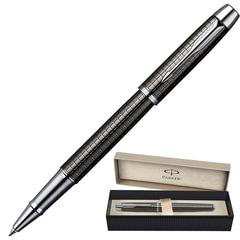 Ручка-роллер PARKER «IM Gun Metal Chiselled CT», корпус вороненая сталь, латунь, хромированные детали, черная, S0908700