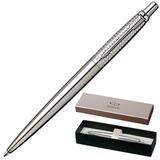 Ручка шариковая PARKER «Jotter Premium Shiny Stainless Steel Chiselled CT», корпус серебристый, нержавеющая сталь, хром, синяя