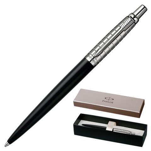 Ручка шариковая PARKER «Jotter Premium Satin Black Stainless Steel CT», нержавеющая сталь, хромированные детали, синяя