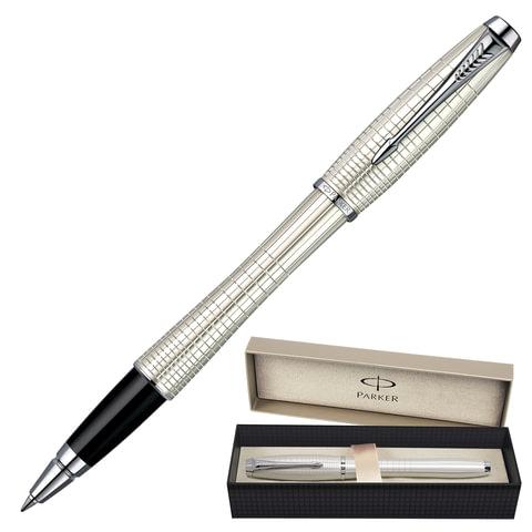 """Ручка-роллер PARKER """"Urban Premium Pearl Chiselled"""", корпус """"жемчужный"""", латунь, хромированные детали, черная, S0911440"""