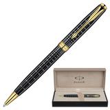 Ручка шариковая PARKER «Sonnet Dark Grey Lacquer GT», корпус латунь, лак, позолоченные детали, черная
