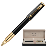 Ручка PARKER «5-й пишущий узел» «Ingenuity Slim Black Lacquer GT», корпус латунь, позолоченные детали, черная
