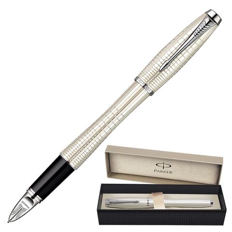Ручка PARKER «5-й пишущий узел» «Urban Premium Pearl Metal Chiselled CT», латунь, хромированные детали, черная