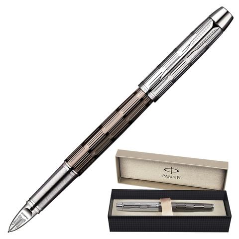 Ручка PARKER «5-й пишущий узел» «IM Premium Twin Chiselled CT», корпус темно-серый, латунь, хромированные детали, черная