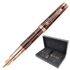 Ручка перьевая PARKER «Premier Luxury Brown PGT,» корпус коричневый, латунь, позолоченные детали, черная, 01876376