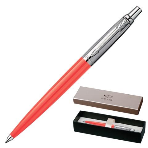 Ручка шариковая PARKER «Jotter Tactical Coral BP», корпус оранжевый, нержавеющая сталь, хром, 1904839, синяя