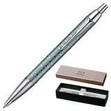 Ручка шариковая PARKER «IM Premium Vacumatic CT», корпус изумрудно-жемчужный, алюминий, хромированные детали, 1906733, синяя