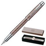 Ручка перьевая PARKER «IM Premium Vacumatic Brown Shadow CT», корпус аллюминий, хромированные детали, синяя