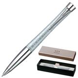 Ручка шариковая PARKER «Urban Premium Vacumatic Silver Blue Pearl», корпус алюминиевый, хромированные детали, синяя