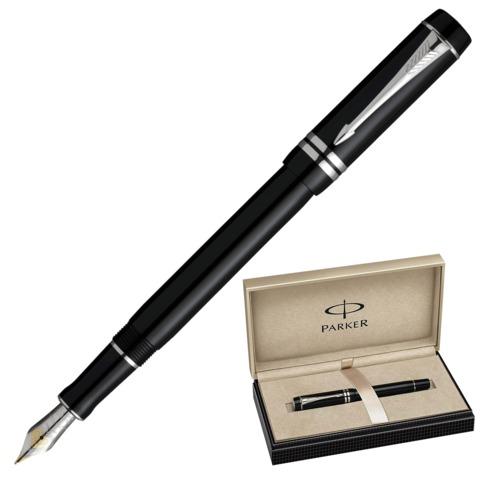 Ручка перьевая PARKER «Duofold Black PT International», корпус акрил, палладиевые детали, синяя