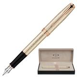 Ручка перьевая PARKER «Sonnet Chiselled Silver PGT», корпус серебро, позолоченные детали, черная