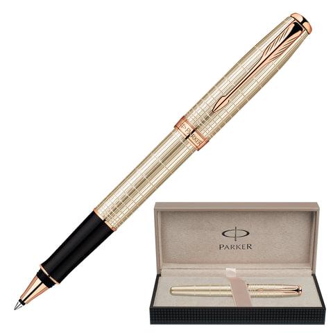 Ручка-роллер PARKER «Sonnet Chiselled PGT», корпус серебристо-розовый, серебро, позолоченные детали, 1859491, черная