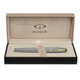 Ручка-роллер PARKER «Sonnet Chiselled Silver GT», корпус серебро, позолоченные детали, черная