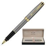 Ручка-роллер PARKER «Sonnet Chiselled GT», корпус серебристо-черный, серебро, позолоченные детали, S0808160, черная