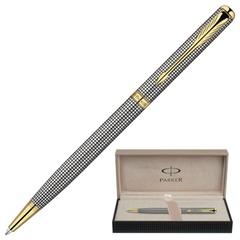 Ручка шариковая PARKER «Sonnet Chiselled GT Slim», тонкий корпус серебристо-черный, серебро, позолоченные детали, черная, S0808180