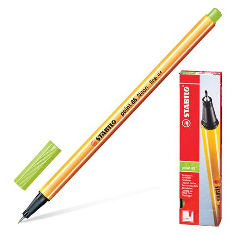 """Ручка капиллярная STABILO """"Point"""", толщина письма 0,4 мм, цвет неоновый зеленый"""