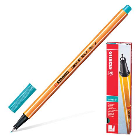 """Ручка капиллярная STABILO """"Point"""", корпус оранжевый, толщина письма 0,4 мм, голубовато-бирюзовая"""