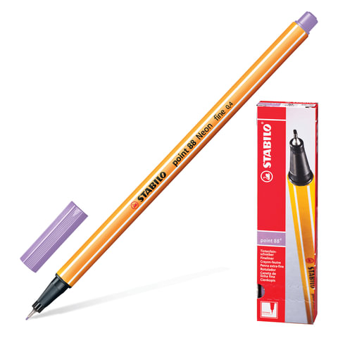 """Ручка капиллярная STABILO """"Point"""", корпус оранжевый, толщина письма 0,4 мм, светло-сиреневая"""