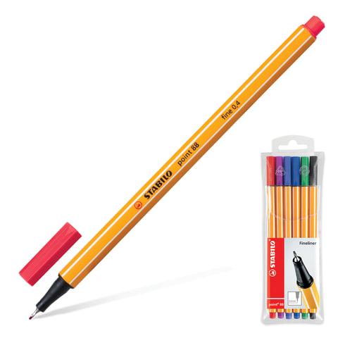 """Ручки капиллярные STABILO, набор 6 шт., """"Point"""", 0,4 мм (голубая, красная, синяя, черная, фиолетовая, сиреневая)"""