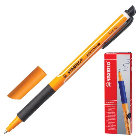 Ручка гелевая STABILO «PointVisco», корпус черно-оранжевый, толщина письма 0,5 мм, черная