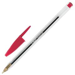 Ручка шариковая BIC «Cristal», корпус прозрачный, узел 1 мм, линия 0,4 мм, красная