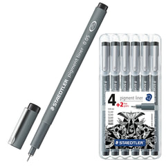 Ручки капиллярные STAEDTLER (Германия), набор 6 шт., толщина письма 0,05 / 0,1 / 0,2 / 0,3 / 0,5 / 0,8 мм, черные