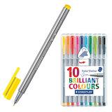 Ручки капиллярные STAEDTLER (Штедлер, Германия), набор 10 шт., трехгранные, толщина письма 0,3 мм, цвета ассорти