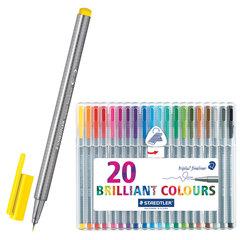Ручки капиллярные STAEDTLER, набор 20 шт., трехгранные, толщина письма 0,3 мм, ассорти