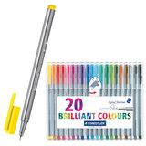 Ручки капиллярные STAEDTLER (Штедлер, Германия), набор 20 шт., трехгранные, толщина письма 0,3 мм, цвета ассорти