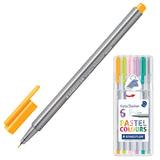 Ручки капиллярные STAEDTLER (Штедлер, Германия), набор 6 шт., трехгранные, 0,3 мм, цвета пастельные, ассорти