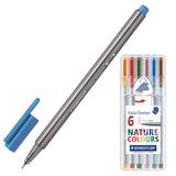 Ручки капиллярные STAEDTLER (Штедлер, Германия), набор 6 шт., трехгранные, 0,3 мм, цвета стандартные, ассорти