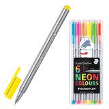 Ручки капиллярные STAEDTLER (Штедлер, Германия), набор 6 шт., трехгранные, 0,3 мм, цвета неоновые, ассорти
