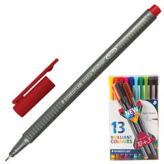 Ручки капиллярные STAEDTLER, набор 13 шт., трехгранные, толщина письма 0,3 мм, ассорти