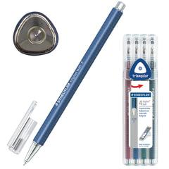 Ручки шариковые STAEDTLER, набор 4 шт., «Triplus Ball», узел 0,7 мм, линия 0,3 мм, (синяя, черная, красная, зеленая)