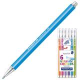 Ручки шариковые STAEDTLER (Штедлер, Германия), набор 6 шт., «Triplus ball», трехгранные, 0,7 мм, цвета ассорти