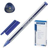 Ручка шариковая STAEDTLER (Штедлер, Германия) «Ball», трехгранная, корпус прозрачный, толщина письма 0,3 мм, 432F-3, синяя