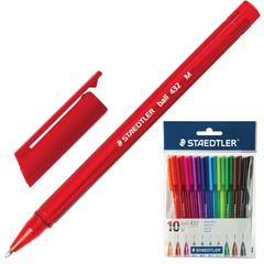 Ручки шариковые STAEDTLER, набор 10 шт., «Ball», трехгранные, узел 1 мм, линия 0,5 мм, ассорти