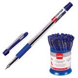 Ручка шариковая масляная CELLO «Slimo Grip», корпус прозрачный, толщина письма 0,7 мм, резиновый держатель, синяя