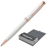 Ручка шариковая PARKER «Sonnet Lacquer PGT», корпус белый лак, латунь, позолоченные детали, 1931555, черная