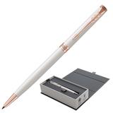 Ручка шариковая PARKER «Sonnet Lacquer Slim PGT», тонкий корпус, белый лак, латунь, позолоченные детали, 1931556, черная