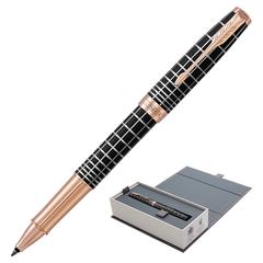 Ручка-роллер PARKER «Sonnet Brown Rubber PGT», корпус коричневый смола, нержавеющая сталь, позолоченные детали, черная, 1931482