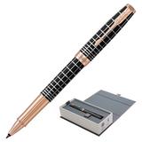 Ручка-роллер PARKER «Sonnet Brown Rubber PGT», корпус коричневая смола, нержавеющая сталь, позолоченные детали, 1931482, черная