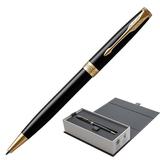 Ручка шариковая PARKER «Sonnet Lacquer GT», корпус черный лак, латунь, позолоченные детали, 1931497, черная