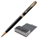 Ручка шариковая PARKER «Sonnet Lacquer Slim GT», тонкий корпус, черный лак, латунь, позолоченные детали, 1931498, черная