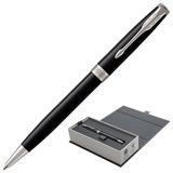 Ручка шариковая PARKER «Sonnet Lacquer CT», корпус черный лак, латунь, палладиевое покрытие деталей, 1931502, черная