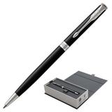 Ручка шариковая PARKER «Sonnet Lacquer Slim CT», тонкий корпус, черный лак, латунь, палладиевое покрытие, 1931503, черная