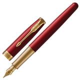 Ручка перьевая PARKER «Sonnet Lacquer GT», корпус красный лак, нержавеющая сталь, позолоченные детали, 1931478, черная